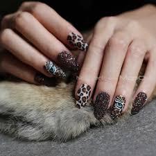 Matte tiger <b>Nail Acrylic Fake nail</b> black box Leopard Accent Press on ...