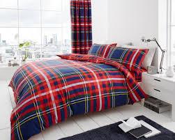 blue red tartan duvet cover bedding pack for teenagers sets