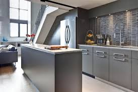 grey mid century cabinet with stylish floor tiles for modern kitchen ideas