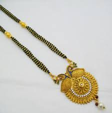 details about peacock gold plated mangalsutra black bead chain pendant necklace indian jewelry