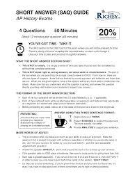 AP History SAQ Guide  APUSH   AP Euro   AP World  SlideShare SHORT ANSWER  SAQ  GUIDE AP History Exams   Questions    Minutes    of