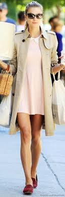 look adorable in a pastel baby pink dress that will make you look like you re more than ready for spring the trench coat and burdy loafers are the final