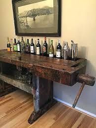 industrial antique furniture. Old Industrial Furniture Antique Carpenter Workbench Wood Table Server Bar Store Chicago T