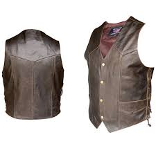 allstate leather inc men s retro brown laced vest