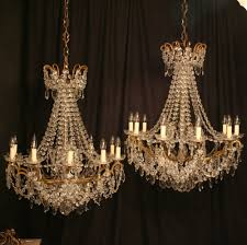 a french pair of 10 light antique chandeliers