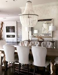 dining room decor ideas wood table minus the crystal chandelier upholstered tufted chairs