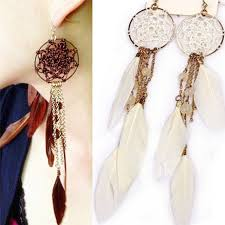 Dream Catcher Earrings With Feathers 100 New Bohemia Feather Beads Long Design Dream Catcher Earrings 2