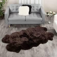 sheepskin area rug espresso brown four pelt quatro 4x6 ft