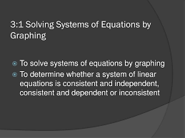 3 1 solving systems of equations by graphing