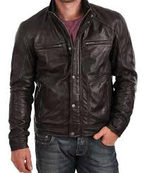 mens black standard fitting zipper pockets oned leather jacket