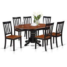 stunning ideas oval dining table set for 6 amazon east west furniture avat7 blk w 7