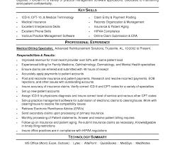 Sample Resume For Medical Billing Specialist Resume Medical Billing Samples Andoding Objective Statement Entry 20
