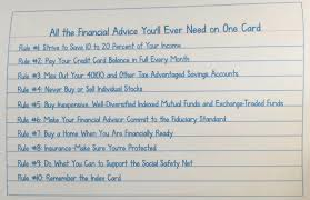 If You Cant Fit Your Financial Plan On An Index Card Its Too Complex