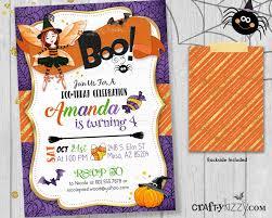 Halloween Boo Thday Invitation Girl Birthday Invite Kids Halloween Costume Party Invitations