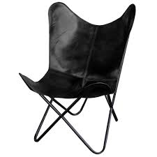 AmeriHome <b>Black</b> Natural Leather <b>Butterfly Chair</b>-803846 - The ...