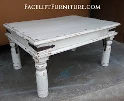 distressed white table. Latest White Distressed Coffee Table With Rustic Set