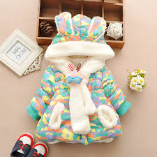 cute rabbit baby winter jacket thick cotton padded baby girl outerwear infant baby boys parka