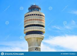 Tower Of Light Orlando Florida Top View Of Air Traffic Control Tower On Lightblue Sky