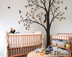 nursery forest inspired corner trees with squirrels animal decals