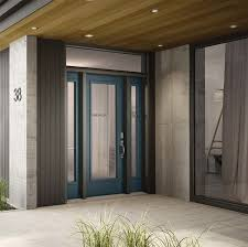 wooden residential door with three panelled glass insert modern black steel entry