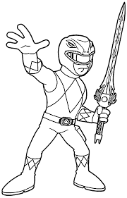 Mighty Morphin Power Rangers Red Ranger Coloring Page