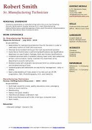 Manufacturing Technician Resume Samples Qwikresume