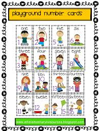 efl elementary teachers playground recess park verbs playground verb number cards all the cards have a number and and an action verb