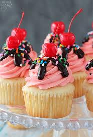strawberry sundae cupcakes moist vanilla cupcake topped with strawberry milkshake ercream chocolate ganache
