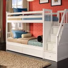 Schoolhouse Collection Twin/Twin Stair Bunk Bed In White : Comfortla.com,  Interior