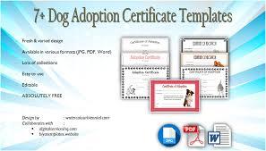 Pet Adoption Certificate Template Dog Adoption Certificate Editable Templates 7 Designs Free