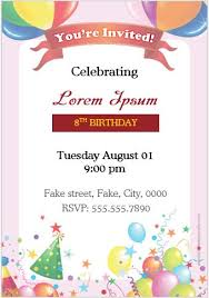 Word Template For Birthday Invitation Birthday Party Invitation Cards For Ms Word Formal Word