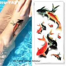 Nu Taty кои карп рыба 3d временные татуировки боди арт флэш татуировки наклейки 19 9 см
