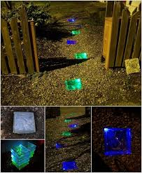 fill glass blocks with solar lights bury them in the garden to mimic stepping stones that glow
