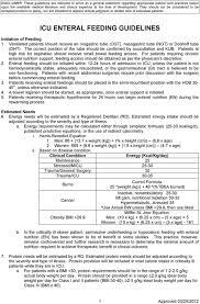 Icu Enteral Feeding Guidelines Pdf Free Download