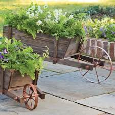 play and hearth wood wheelbarrow planter