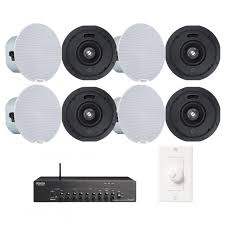 wireless office speakers. Office Sound System Wireless Bluetooth Music Streaming With 8 Denon DN-104S Ceiling Speakers And DN-333XAB Mixer Amplifier L