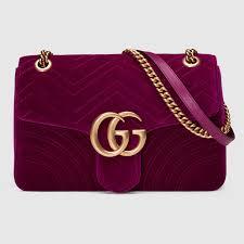 Gucci Bags Velvet Pinterest Gucci Gg Marmont Velvet Shoulder Bag In Fuchsia Chevron With Heart Monogramming