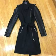 mackage dale sp long black wool coat with leather sleeves size small women s fashion clothes on carou