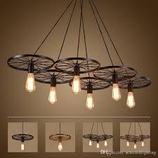 vintage wheel ceiling pendant lights modern light fixtures led lamps home lighting metal industrial edison e27 holder 3 6heads lamp maskros pendant lamp