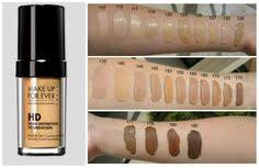 artist palette make up forever hd foundation color swatches