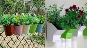 Balcony Garden Metal Plant Flower Pot Hanging Vase Balcony Garden Youtube