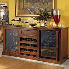 Cabinet With Wine Cooler Siena Wine Credenza Walnut With Wine Refrigerator Wine Enthusiast