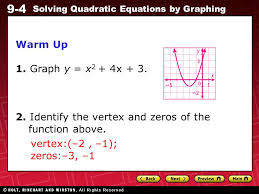9 4 solving quadratic equations by graphing warm up 1