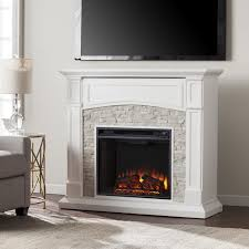 southern enterprises seneca 45 inch electric fireplace mantel w infrared heater crisp white w rustic white faux stone fi9362 gas log guys