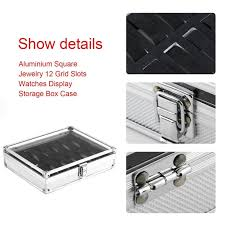 12 grids slots watches display storage box case pu leather double layers