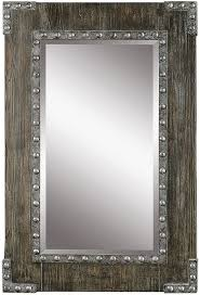uttermost 09137 malton rustic wood wall mirror loading zoom