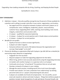 Topgrading Chart Summary Of Key Concepts From Topgrading How Leading