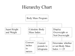Hierarchy Chart In Programming Flowchart Start Input Weight And Height Ppt Video Online
