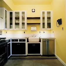 kitchen design yellow. kitchen design, yellow wall paint and black white wooden design