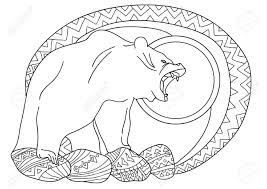 line art design for coloring book for bear in the forest on the rocks